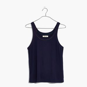 Madewell Rainbow-Stitched Ribbed Tank Top